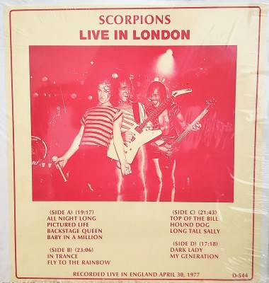THE SCORPIONS  LIVE IN LONDON  GLC D-544