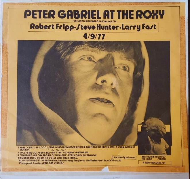 PETER GABRIEL  AT THE ROXY  Big Thumb Records PG1200